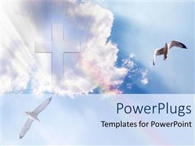 Beautiful slide deck with big cross in the sky white clouds heavenly doves shining glowing heaven