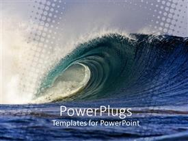 Elegant PPT theme enhanced with big deep blue sea waveon a dark cloudy day