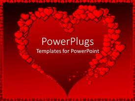 Colorful theme having big heart shape framed by red hearts of various sizes on red background