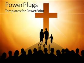 Presentation design having big orange silhouette of cross with family in front of cross and group of people