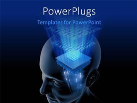 Presentation theme having big processor chip in human head on dark blue and black surface