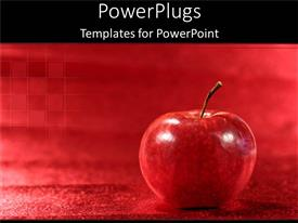 Presentation with a big red apple on a red plain background