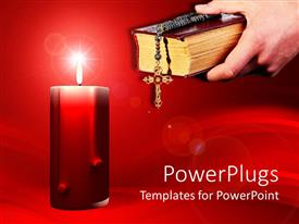 Presentation design consisting of big red candle with an adult hand holding a bible and rosary