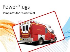 Presentation with big red fire rescue truck over white background