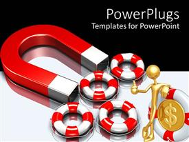 Presentation theme enhanced with a big red and silver colored magnet with five buoys