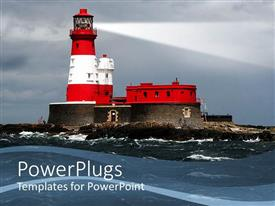 Audience pleasing slides featuring big red and white colored light house on a sea