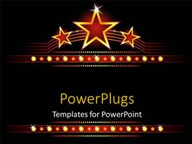 Presentation design with big stars background with stars and lights glowing