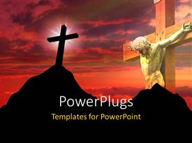 Elegant PPT layouts enhanced with a big wooden cross of Jesus Christ and another on a mountain