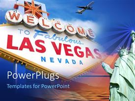 Amazing slide deck consisting of bill board welcoming to Las Vegas, Nevada with airplane in sky