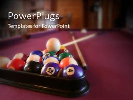 Elegant PPT theme enhanced with billiard balls in rack with cue ball, billiard sticks, purple felt pool table
