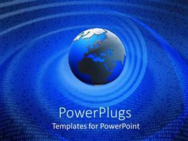 Elegant presentation design enhanced with binary code swirling around globe, Earth, world, blue background