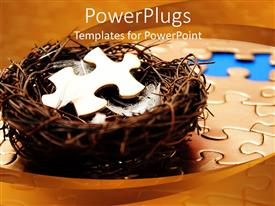 PPT theme consisting of bird nest with white feathers and jigsaw puzzle piece on jigsaw puzzle