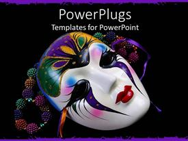 Theme consisting of black background with colorful beads and Mardi Gras mask