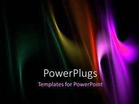 Presentation design enhanced with black background with overlay of multicolored wavy lines