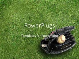 Colorful presentation design having black baseball glove holding baseball ball on green grass background