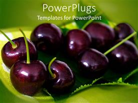 Audience pleasing slide deck featuring black cherries on green leaf, green background