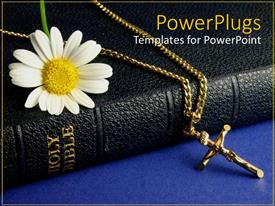 Slide set with black colored Bible with a white flower and cross chain
