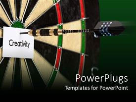 Audience pleasing PPT theme featuring black dart hitting the center of a dart board and a paper with Creativity text