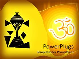 Elegant PPT layouts enhanced with black depiction of Lord Ganesha on a yellow background
