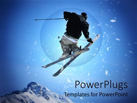 PPT layouts featuring black dressed skier performing stunt on blue background