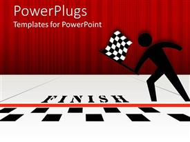 Colorful PPT theme having black figure with checked flag at black and white finish line