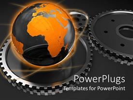 Amazing PPT theme consisting of black and gold globe on gears