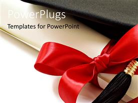 Presentation design having black graduation cap with red ribbon and white background