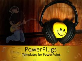 Slides featuring black head phones covering a round yellow smiley face