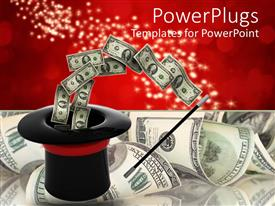 PPT theme consisting of black magicians hat and a wand with dollar bills