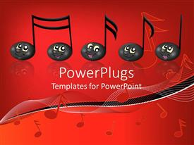 PPT theme having black musical notes with smiling faces, music, red background