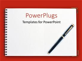 Slides enhanced with black pen on spiral notebook with red background