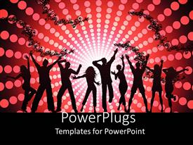 PPT layouts having black silhouettes of dancing people on abstract floral pattern with disco lights on red and black background