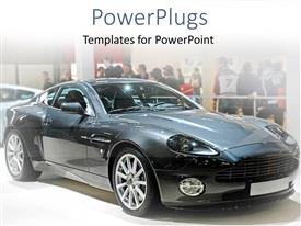 PPT theme consisting of black sleek sports car in a show room with people watching