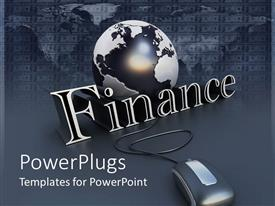 Presentation theme featuring black and white globe behind finance and computer mouse