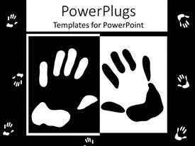 Audience pleasing slide set featuring black and white hands on black and white background