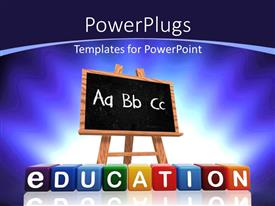 Colorful theme having a blackboard with bluish background and place for text