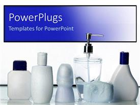 Elegant PPT theme enhanced with blank white bottles with white and blue caps on reflective surface