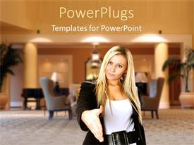 PPT theme consisting of blond young business woman smiles and stretches hand for handshake
