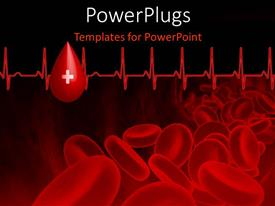 Elegant presentation enhanced with blood platelets with heart beat pulse on black background