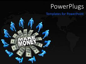 PPT theme consisting of blue 3D business men round stacks of dollar bills
