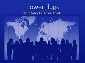 PPT theme consisting of blue background with world map and silhouette of people in background
