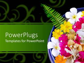 Presentation theme consisting of blue bowl with exotic colorful flowers on a green floral background