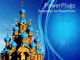 Audience pleasing PPT theme featuring blue and brown catholic church on a blue background