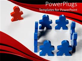 Presentation design consisting of blue colored 3D people form square with red colored one looking on