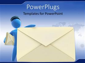 PPT theme enhanced with blue colored 3D postman leaning towards large envelope symbol