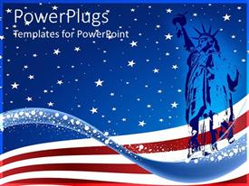 PPT theme consisting of blue colored statue of liberty over the USA  flag background