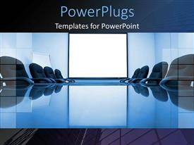 PPT layouts with blue conference room with office chairs and white powerpoint slide for business