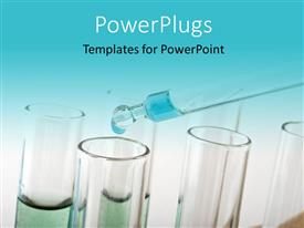 PPT theme enhanced with blue drop from a pipette into test tubes in a science lab