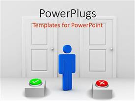 Presentation theme enhanced with blue figure standing between two doors with green check button and red X button