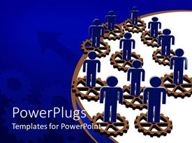 Elegant presentation enhanced with blue figures stand on disconnected brown gears